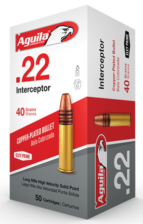Aguila 1B222320 Interceptor 22 Long Rifle (LR) 40 GR Solid Point 50 Bx/ 100 Cs