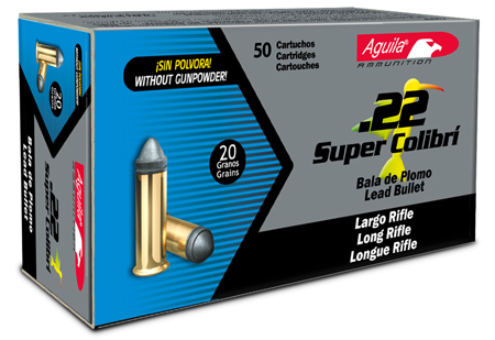 Aguila 1B222339 Super Colibri 22 Long Rifle (LR) 20 GR Colibri SubSonic Lead 50 Bx/ 100 Cs