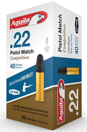 Aguila 1B222516 Match Compeition Standard Velocity 22 Long Rifle (LR) 40 GR Lead Round Nose 50 Bx/ 100 Cs