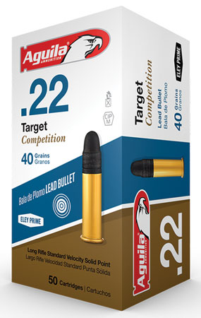Aguila 1B222514 Match Competition Standard Velocity 22 Long Rifle (LR) 40 GR Lead Round Nose 50 Bx/ 100 Cs